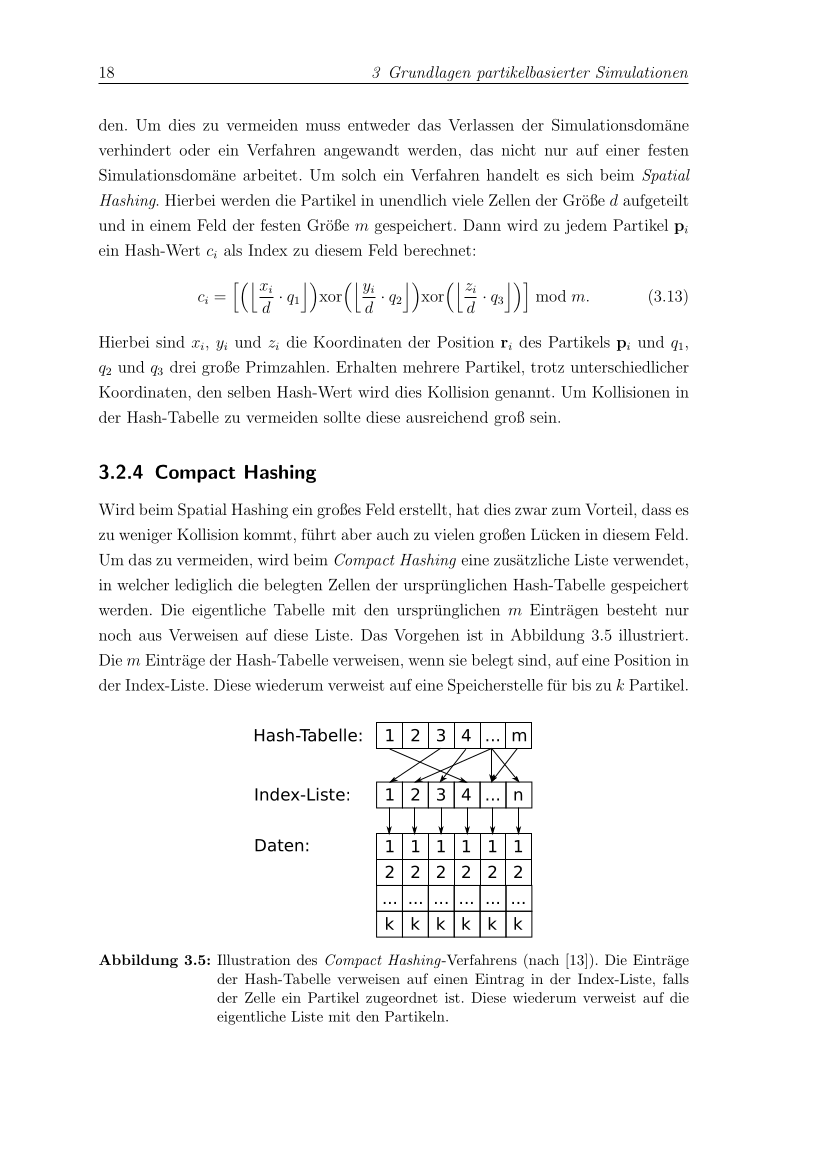 Page describing hashing algorithms used in particle simulations.